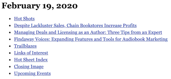 February 19, 2020 table of contents