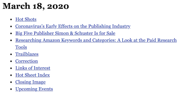 March 18, 2020 table of contents