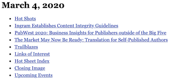 March 4, 2020 table of contents