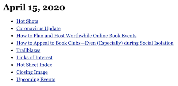 April 15, 2020 table of contents