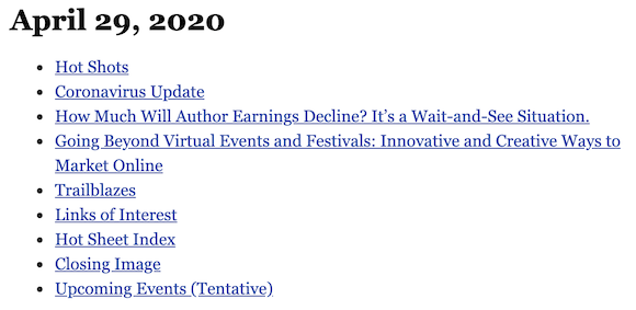April 29, 2020 table of contents