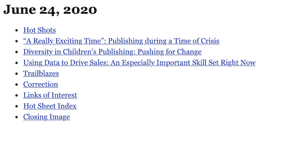 June 24, 2020 table of contents