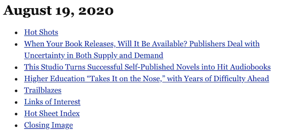 August 19, 2020 table of contents
