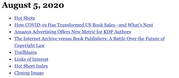 August 5, 2020 table of contents