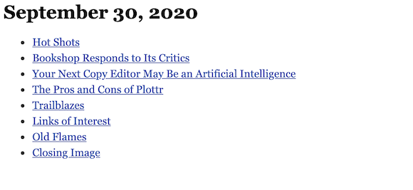 September 30, 2020 table of contents