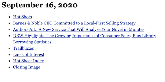 September 16, 2020 table of contents