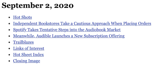 September 2, 2020 table of contents