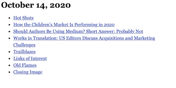 October 14, 2020 table of contents