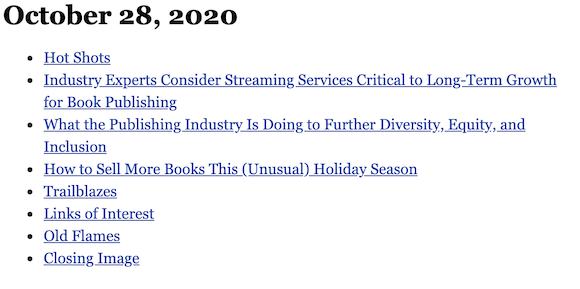 October 28, 2020 table of contents