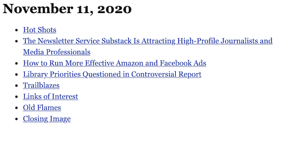 November 11, 2020 table of contents
