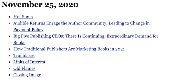November 25, 2020 table of contents