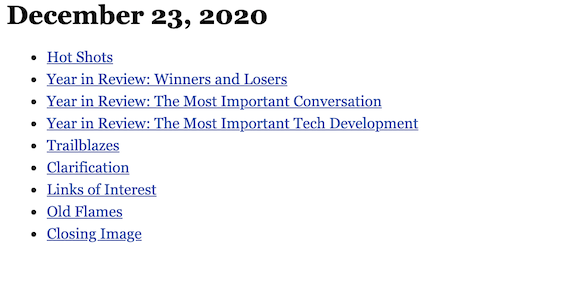 December 23, 2020 table of contents