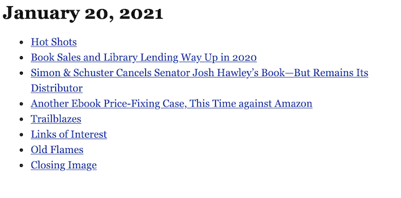 January 20, 2021 table of contents