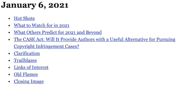 January 6, 2021 table of contents