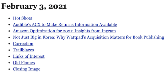 February 3, 2021 table of contents
