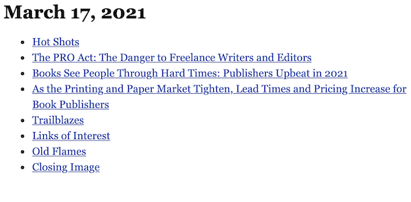 March 17, 2021 table of contents