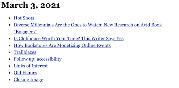 March 3, 2021 table of contents