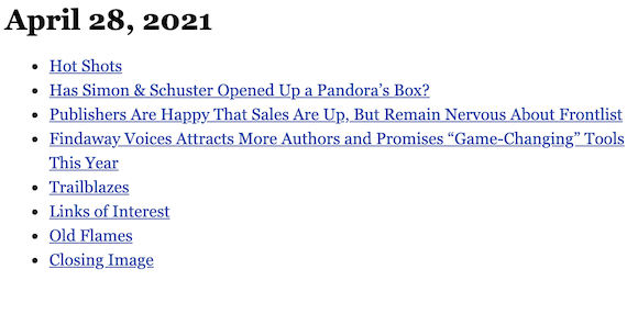April 28, 2021 table of contents