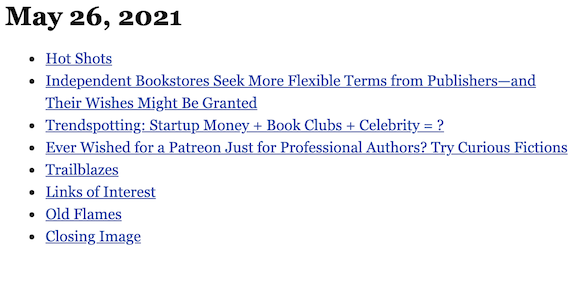 May 26, 2021 table of contents