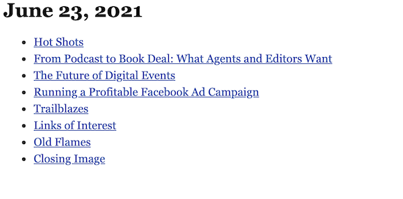 June 23, 2021 table of contents