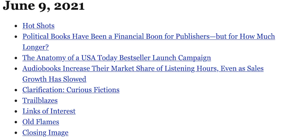 June 9, 2021 table of contents