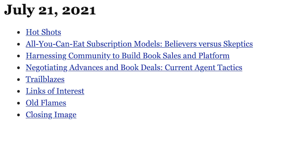July 21, 2021 table of contents
