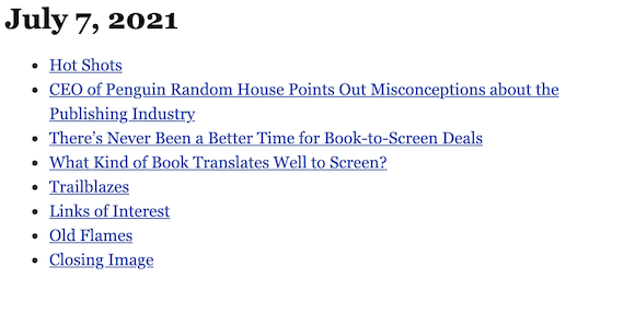 July 7, 2021 table of contents