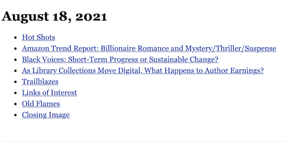 August 18, 2021 table of contents