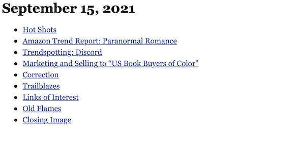 September 15, 2021 table of contents