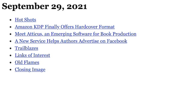 September 29, 2021 table of contents